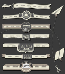Website headers and navigation elements in vintage style.