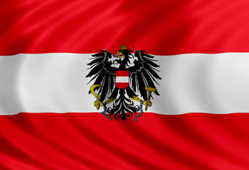 Austria flag of silk