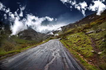 Camino de montaña con árboles y cielo azul