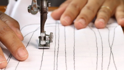 Woman working with sewing machine, Close up HD Clip.