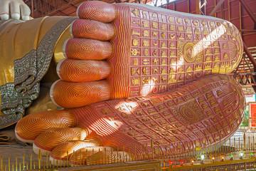 Footprint of Chauk htat gyi reclining buddha , yangon