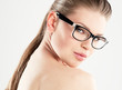 Beauty portrait of pretty girl wearing stylish eyeglasses