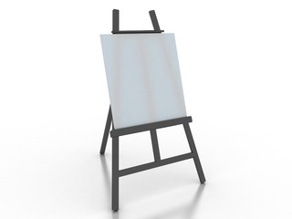 white advertising stand. 3d rendering on white background