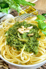 linguine pasta by pesto
