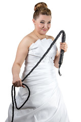 Bride with whip in white dress