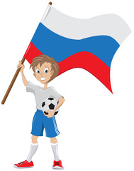 Happy soccer fan holds russian flag