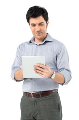 Serene Man With Digital Tablet