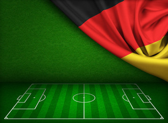 Soccer or football field background with flag of Germany