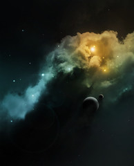 Fantasy deep space nebula with planet