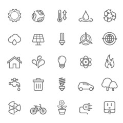Set of Outline Stroke Ecology Icons