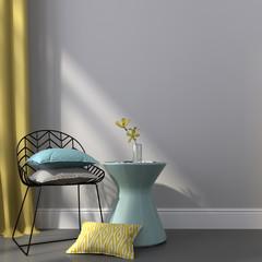 Black chair near the blue table