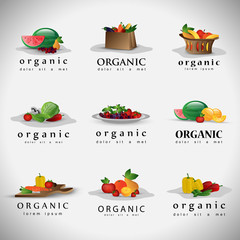 Fruits And Vegetables Set - Isolated On Gray Background