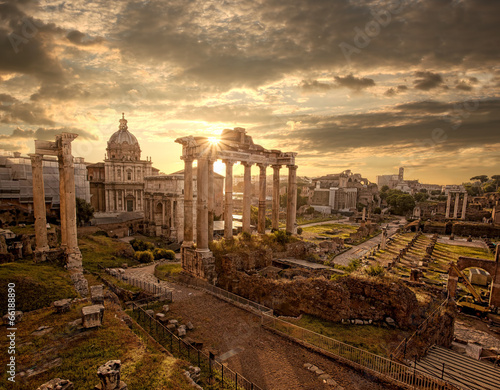 Fototapeta Famous Roman ruins in Rome, Capital city of Italy