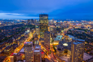 Aerial view of Boston in Massachusetts
