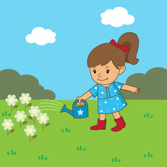 Girl is watering the flowers