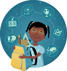 Cartoon black school girl with a backpack