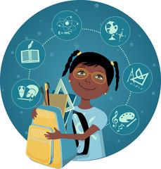 Cartoon black school girl with a backpack