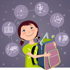 Cartoon school girl with a backpack, subjects on the background