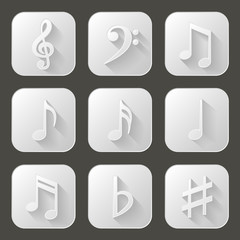 Music notes. Set of icons with long shadow