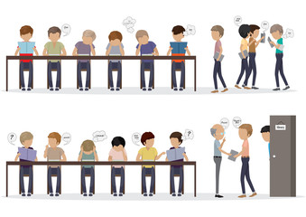 Group Of People At Reading Room - Vector Illustration