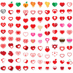 Hearts Icons Set - Isolated On White Background