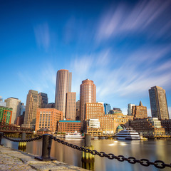 Boston Harbor and Financial District in Boston