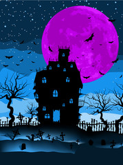 Dark scary halloween night. EPS 8