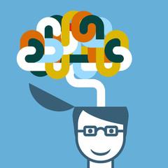 Creative person - head with imaginative brain