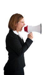 businesswoman shouting into a loudhailer