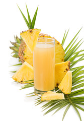 glass of fresh pineapple juice and pineapple fruit