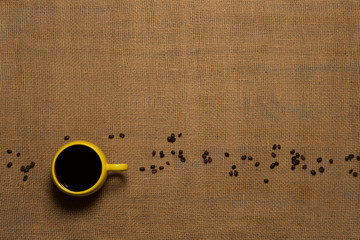 Coffee Mug Background - Top View with Beans