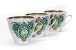Porcelain cups with a green pattern