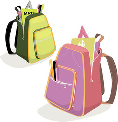 School backpacks with tools and books