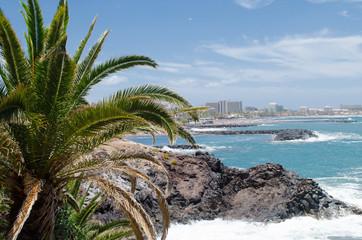Rocky coast of Costa Adeje.Tenerife island, Canaries, Spain