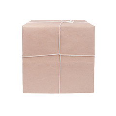 package ready for shipment, wrapped in brown paper and tied with