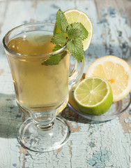Green   tea with lime and mint.