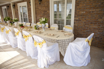 Decorated chair and tables