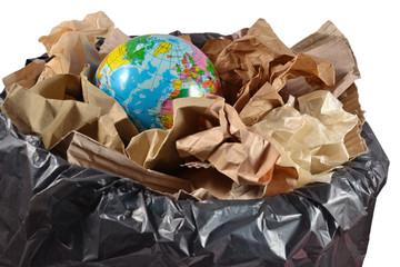Globe in the garbage bin