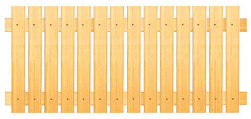 fence of wooden planks on a white background