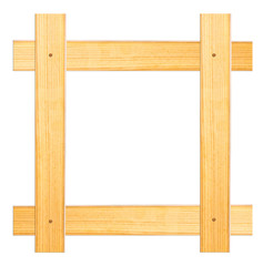 frame of wooden planks on a white background