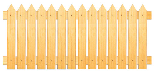 Fence of sharpened planks on a white background