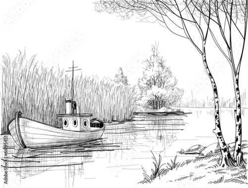 Nature sketch, boat on river or delta - 66195451