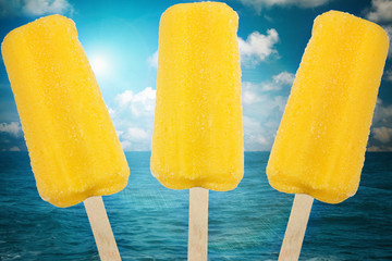 Yellow Ice cream on summer sea background