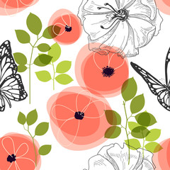Spring seamless pattern, flowers and butterfly
