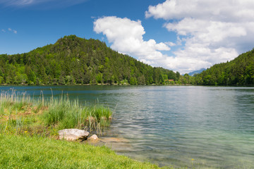 idyllic lake alatsee with green meadow and blue sky water