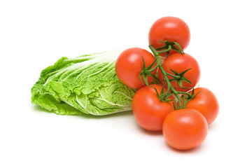 tomatoes and lettuce on white background
