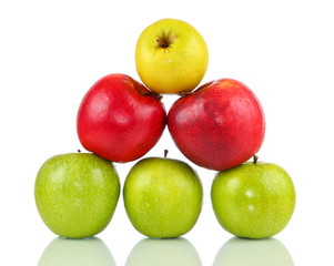 Pyramid of different apples on white background