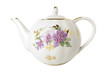 Porcelain teapot with floral ornament  over white