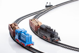 two toy locomotives