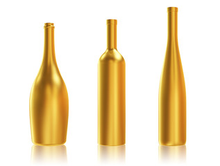 Golden Bottles on White Background